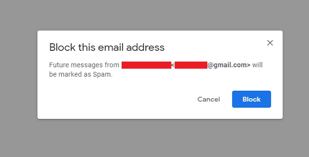 Click on Block for Block email address