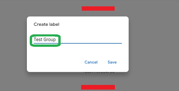 Enter a name for Group or Label in Gmail